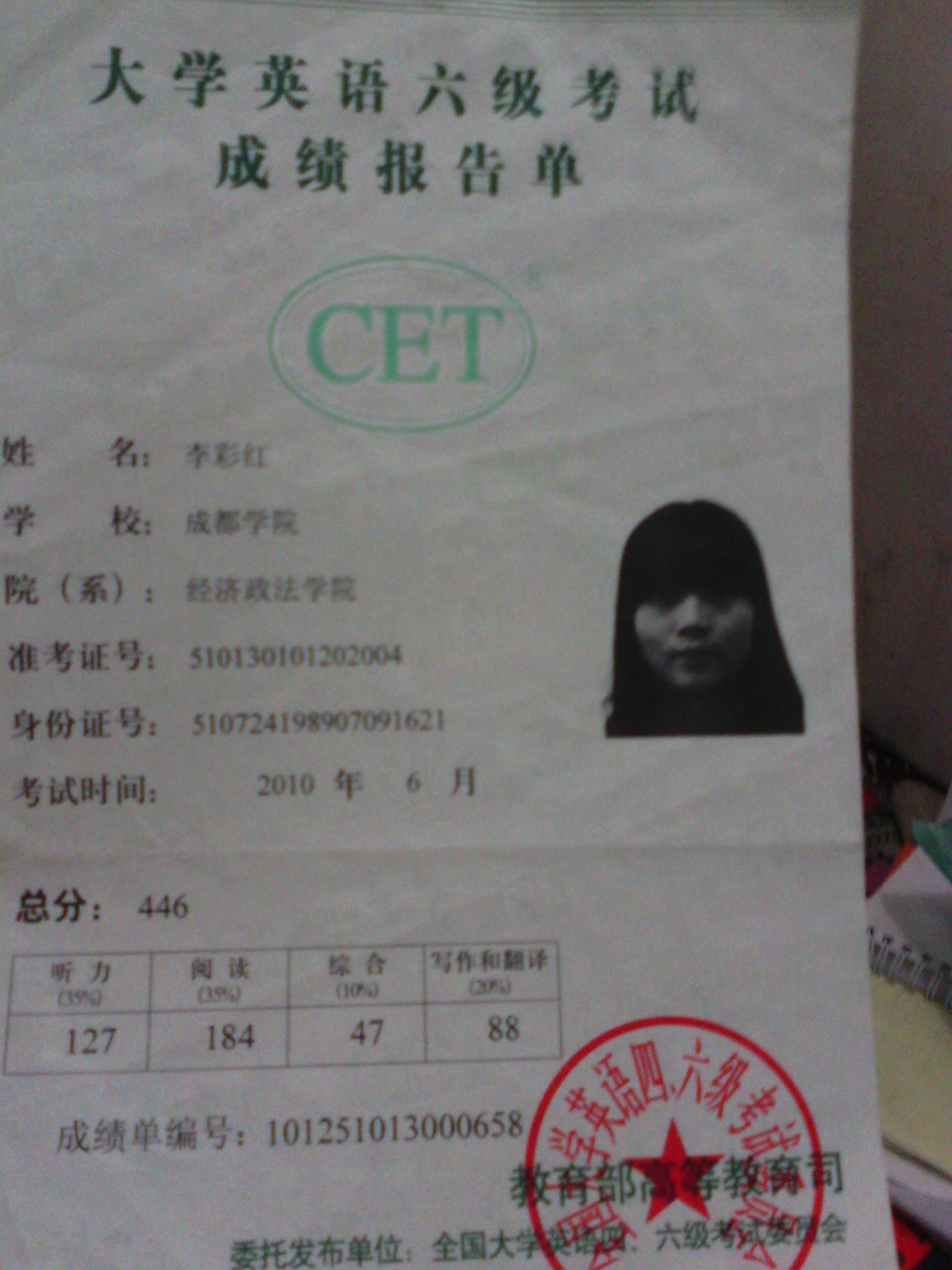 全国大学生英语等级认证六级证书