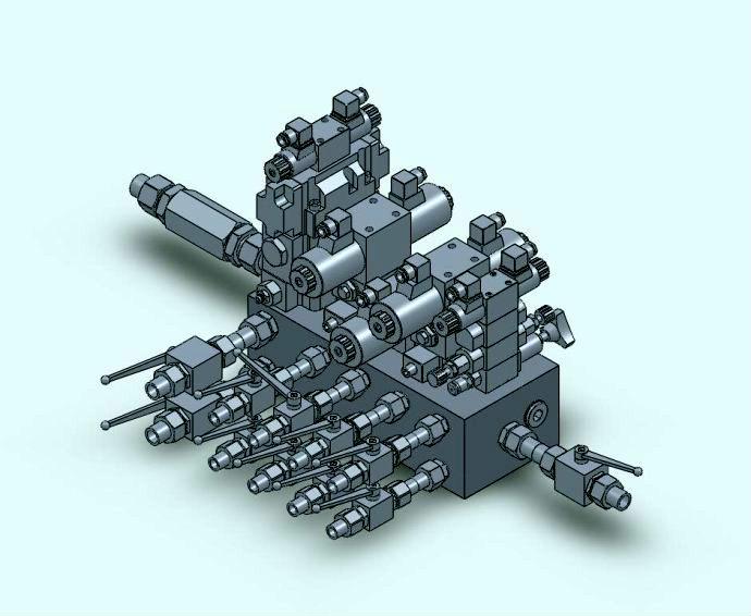 棒材全连轧液压系统, 2,废钢抓斗液压系统, 3,各种油路集成块设计制作