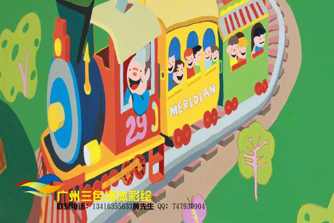卡通墙体彩绘,幼儿园喷绘墙体绘画,幼儿园墙画
