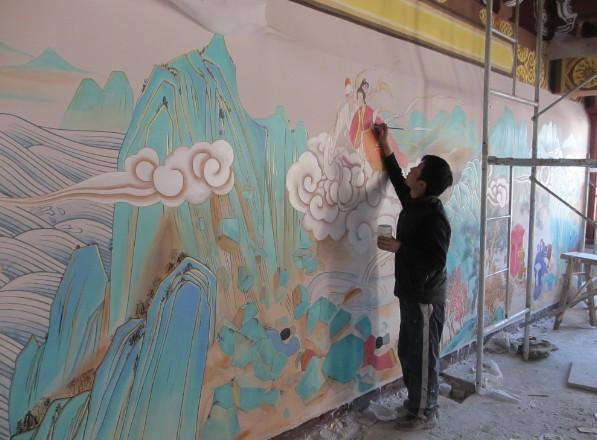 各种墙面彩绘装饰为主 家装手绘墙,酒店会所壁画,古建彩绘,幼儿园墙面